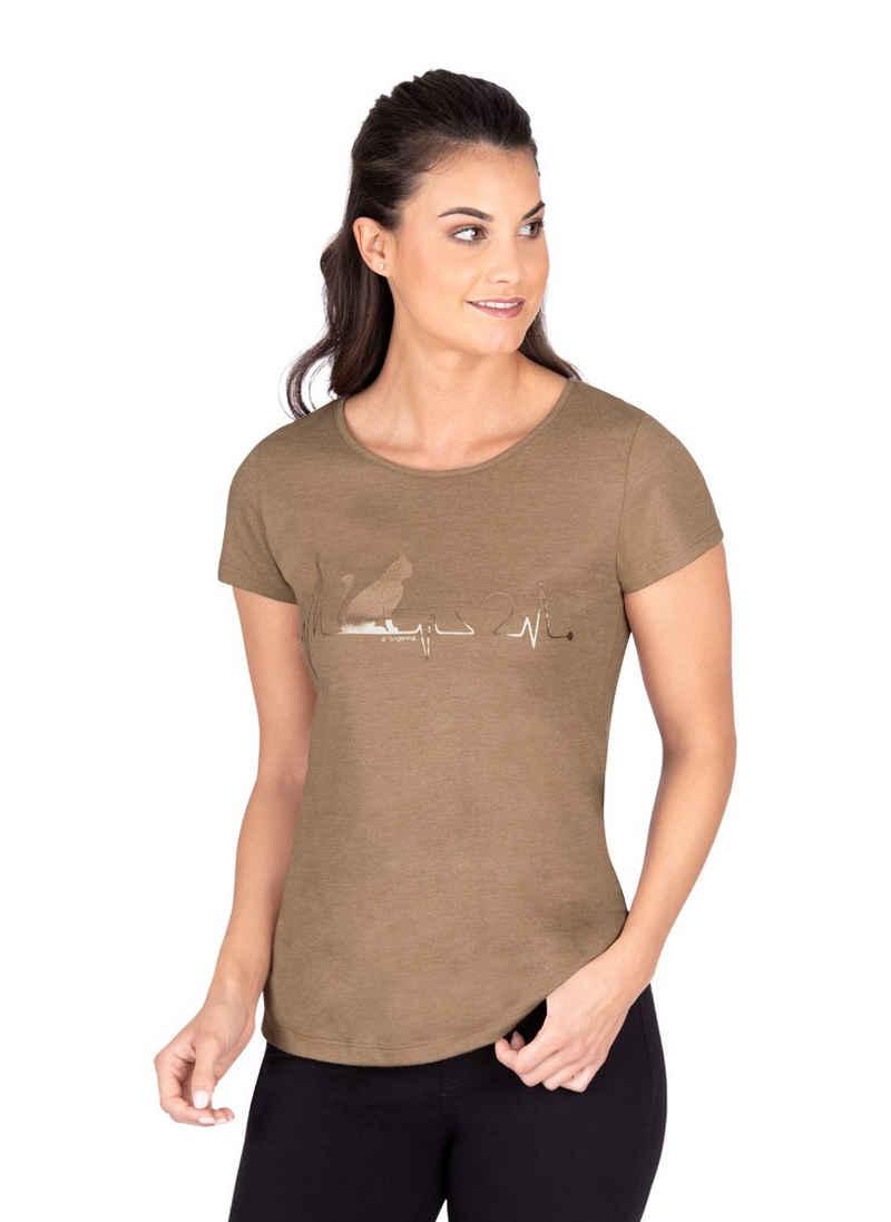 Trigema T-Shirt mit 1/4-Arm und Katzen-Druckmotiv