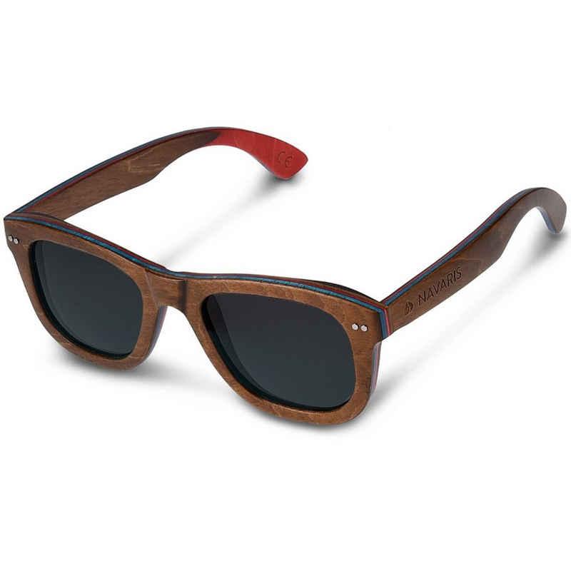 Navaris Sonnenbrille UV400 Damen Herren Holz Brille unisex - polarisierte Holzbrille aus Skateboard Holz - Holzoptik