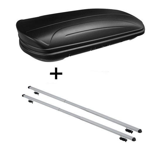 VDP Fahrradträger, Dachbox VDPMAA320 320Ltr abschließbar schwarz matt + Dachträger RAPID kompatibel mit Kia Clarus (5Türer) 95-01