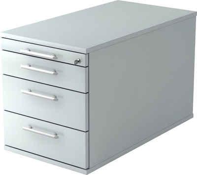 bümö Rollcontainer »OM-TC30«, mit Schloss mit 4 Schubladen - Bürocontainer, Container fürs Büro - Dekor: Grau