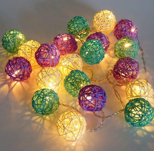 Guru-Shop LED-Lichterkette »Rattan Ball LED Kugel Lampion Lichterkette..«