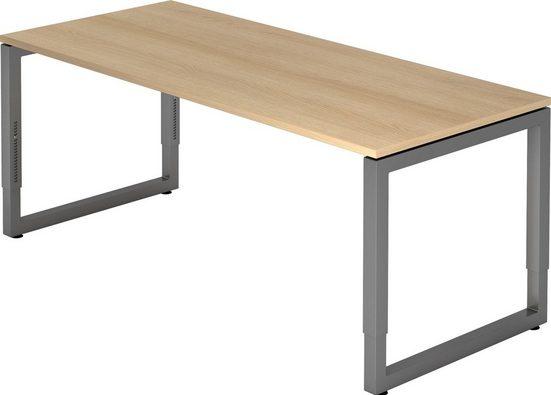 bümö Schreibtisch »OM-RS19-G«, höhenverstellbar - Rechteck: 180x80 cm - Gestell: Graphit, Dekor: Eiche