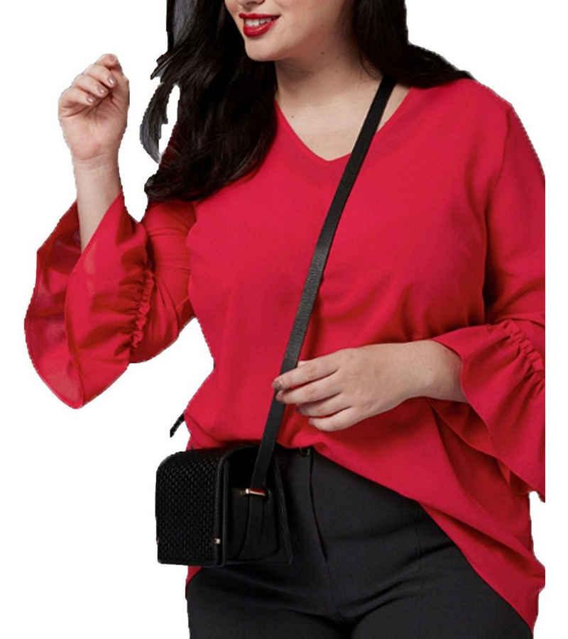 GUIDO MARIA KRETSCHMER Shirtbluse »GUIDO MARIA KRETSCHMER Curvy Blusen-Shirt modische Damen 3/4-Volantärmel-Bluse mit Raffung Sommer-Bluse Rot«