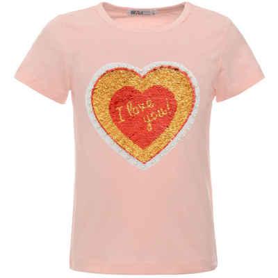 BEZLIT Paillettenshirt »Mädchen T-Shirt Wende Pailletten Herz Motiv« (1-tlg) mit Wendepailletten, mit Kunstperlen