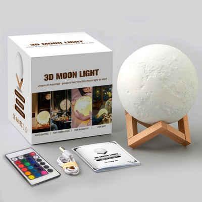 PRECORN LED Nachtlicht »LED - Mondlampe 3D Durchmesser 15 cm Nachtlicht Deko-Mond-Leuchte mit LED und Touch-Funktion 16 Farben Dekoleuchte Mondlicht«