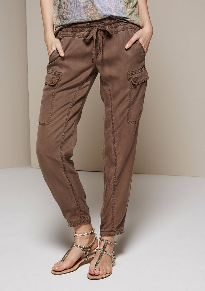 COMMA Coole Loungepants im Cargolook in khaki