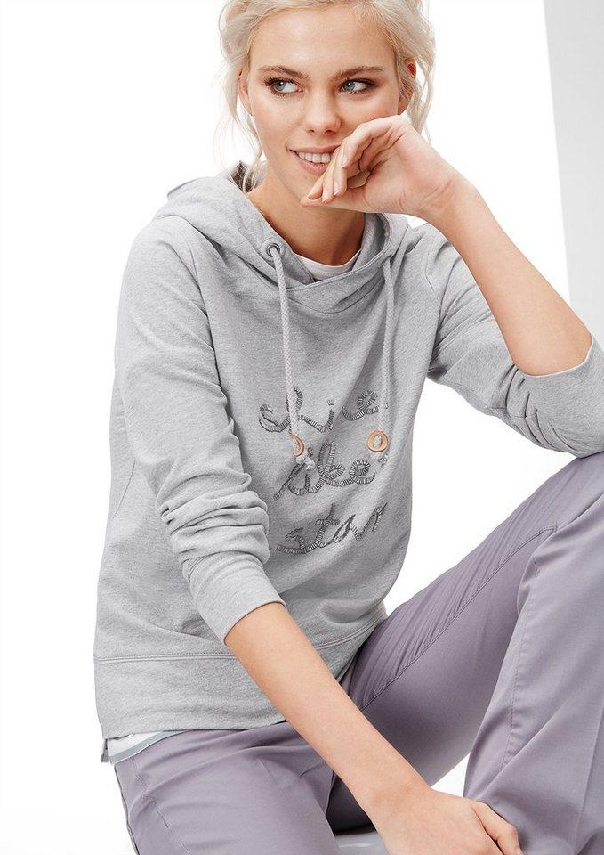 s.Oliver Dekoriertes Sweatshirt in grey melange placed