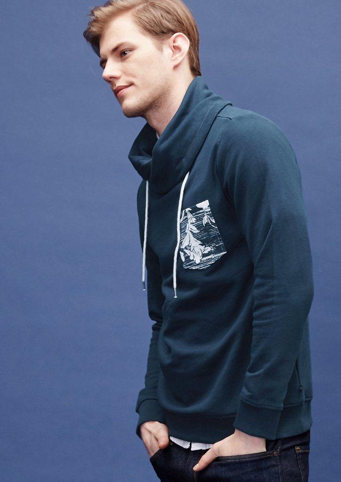 s.Oliver Denim Sweater mit Print-Tasche in dark blue