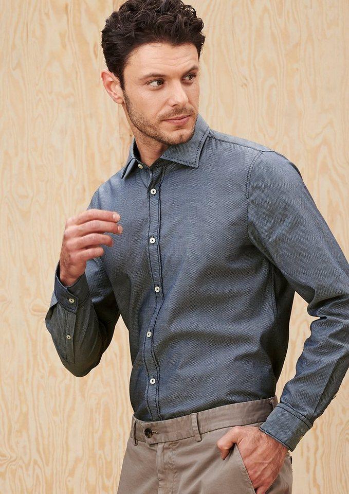 s.Oliver PREMIUM Slim: Hemd mit Minimalmuster in night blue dots