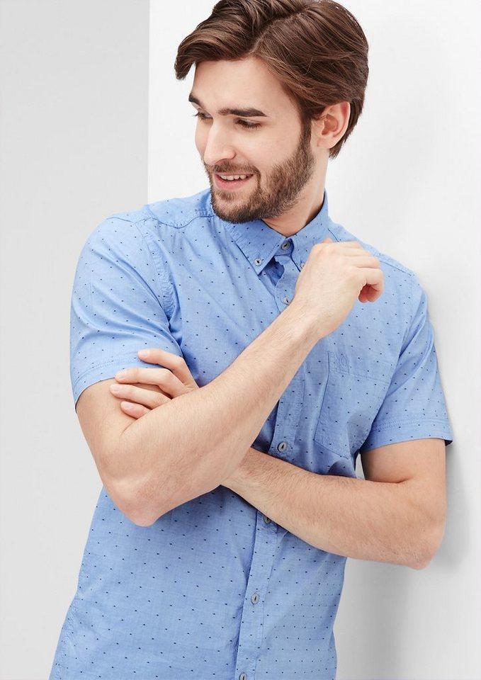 s.Oliver Slim: Hemd mit Punkte-Struktur in fog blue dobby