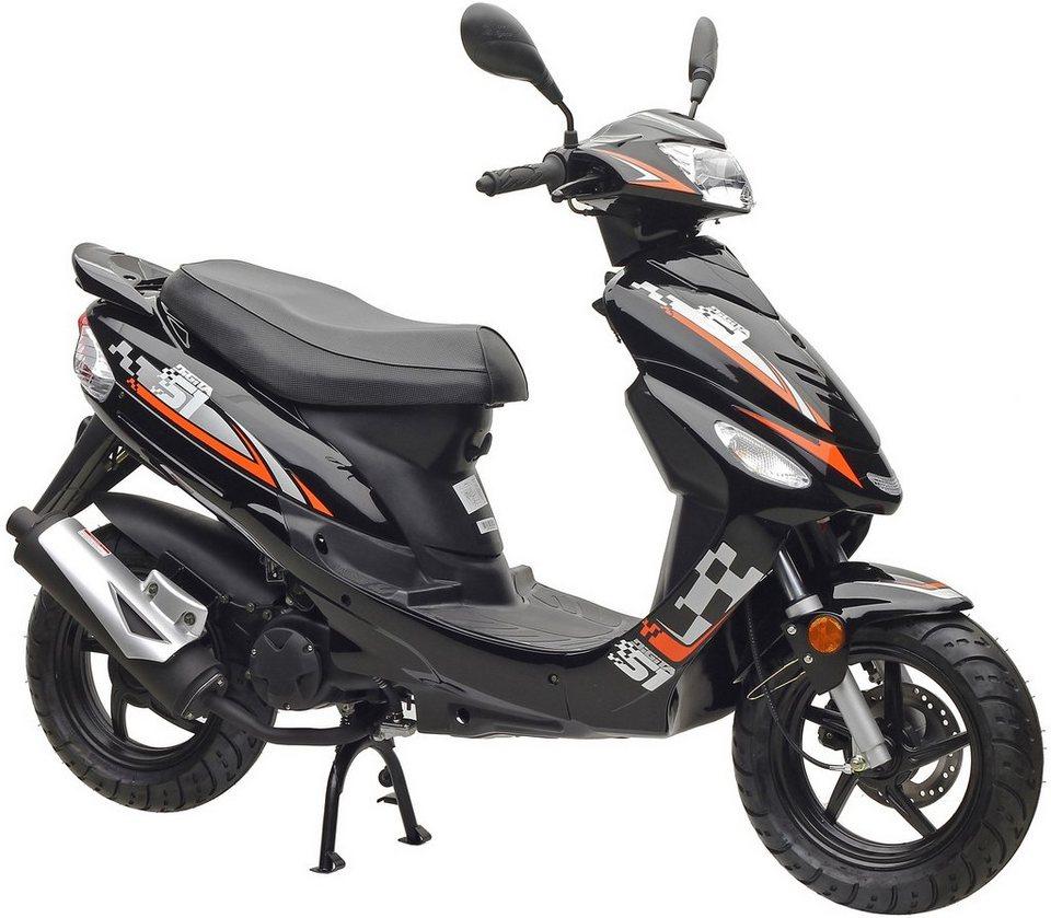 Motorroller »Nova Sport«, 50 ccm 45 km/h, schwarz-orange oder weiß-blau-schwarz in schwarz-orange