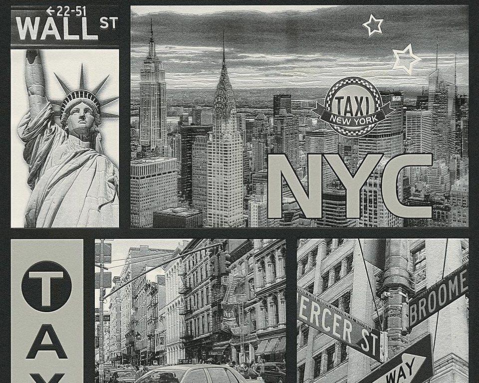Schaumtapete, Livingwalls, »Faro 4« in metallic schwarz weiß