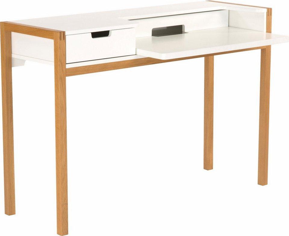 andas Schreibtisch »Laerke«, Eiche im nordischen Design in weiss/natur