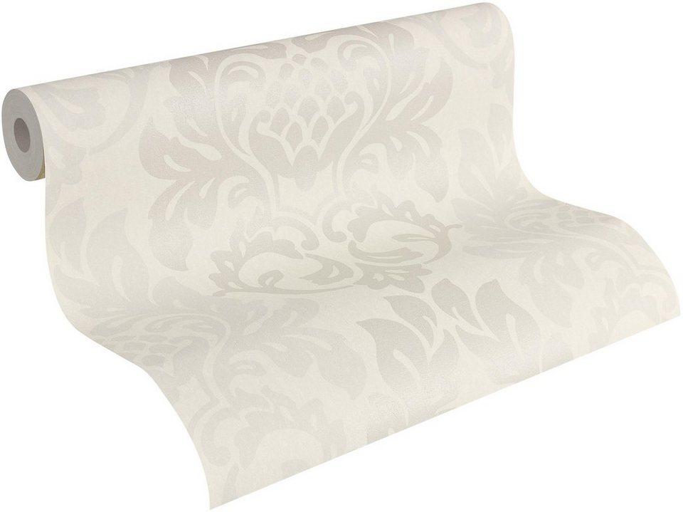 Vliestapete, Livingwalls, »Fleece Royal« in metallic weiß
