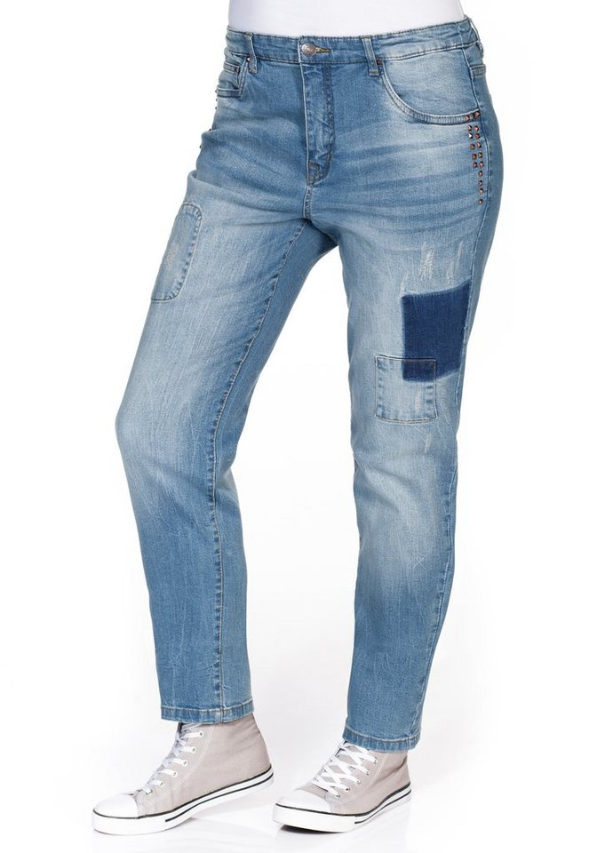 sheego Denim Boyfriend Stretch-Jeans in blue Denim
