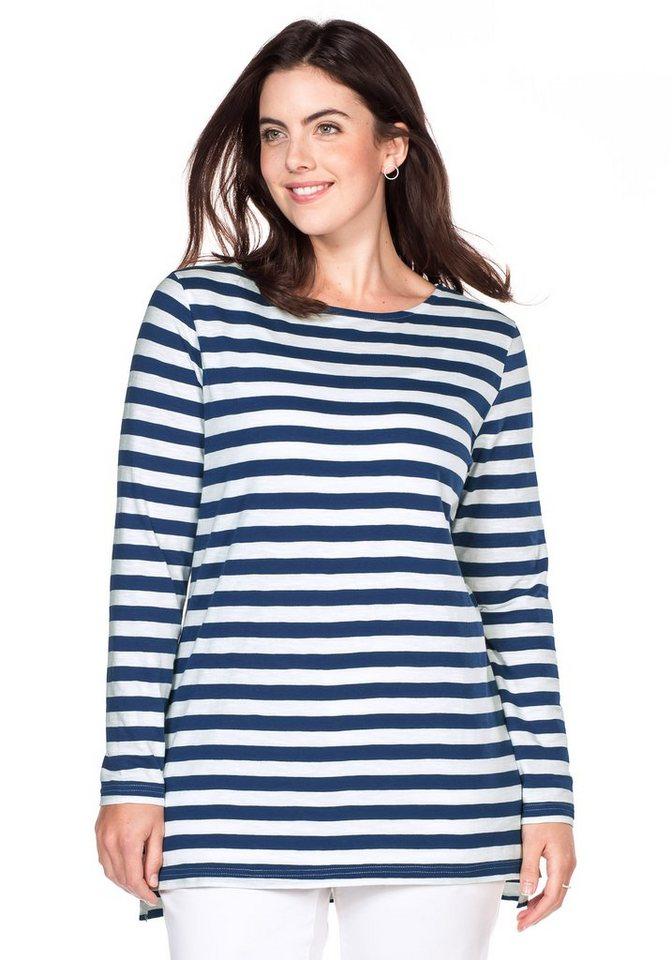 sheego Casual Langarmshirt mit Streifen in nachtblau-weiß