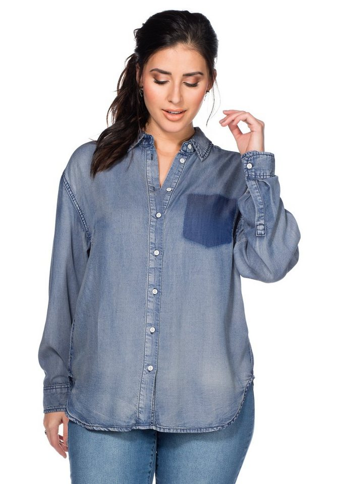 sheego Denim Jeansbluse in light blue denim
