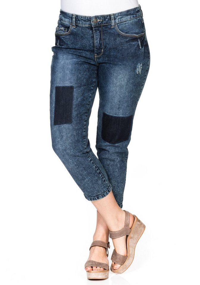 sheego Denim Schmale Stretch-Jeans in blue used Denim