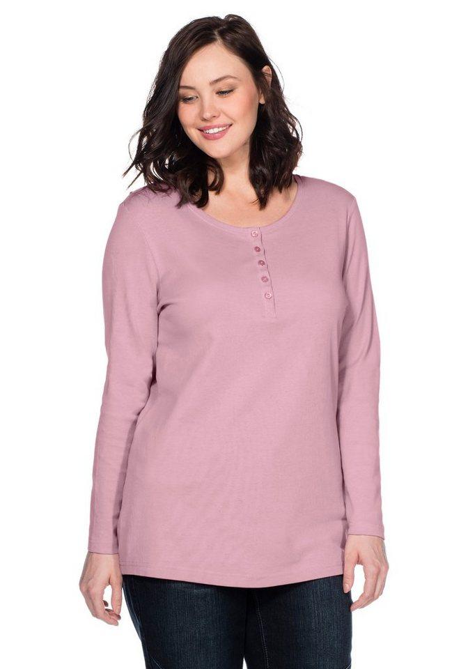 sheego Casual BASIC Shirt mit Serafinokragen in rose