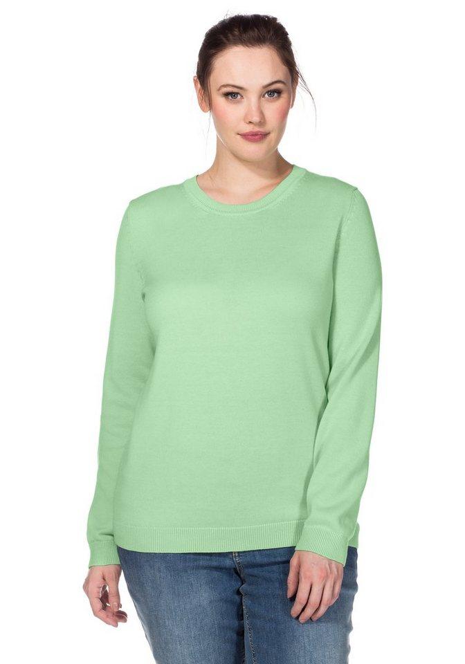 sheego Casual BASIC Pullover in apfelgrün