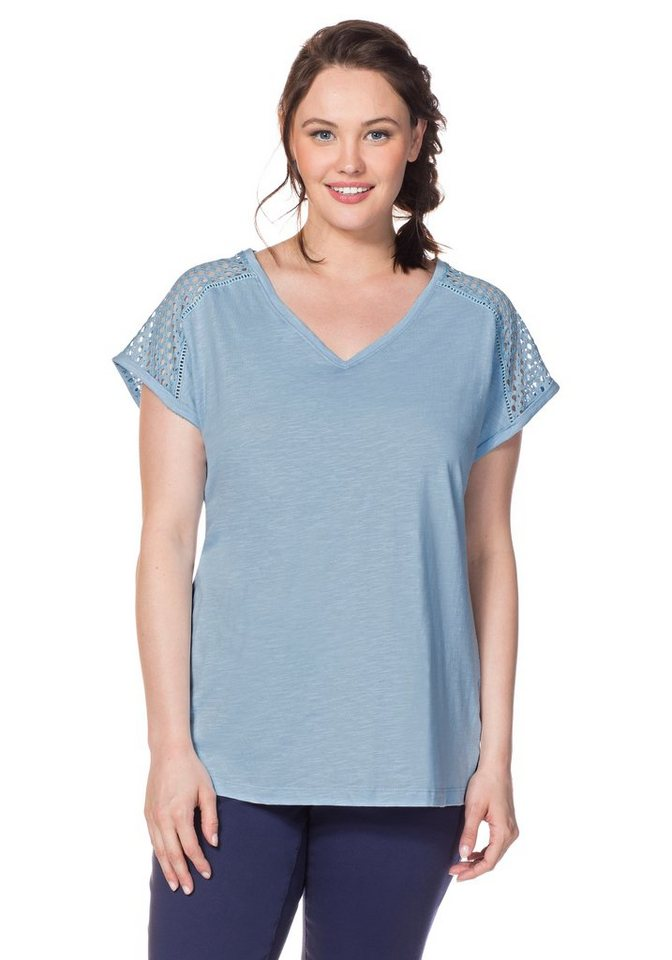 sheego Casual T-Shirt in pastellblau