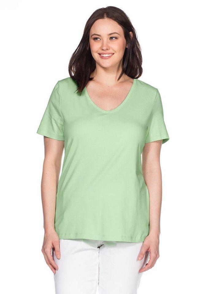 sheego Casual BASIC T-Shirt V-Ausschnitt in apfelgrün