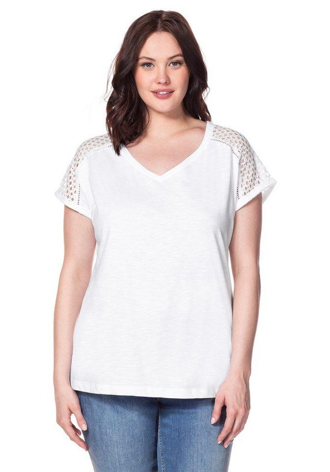 sheego Casual T-Shirt in weiß