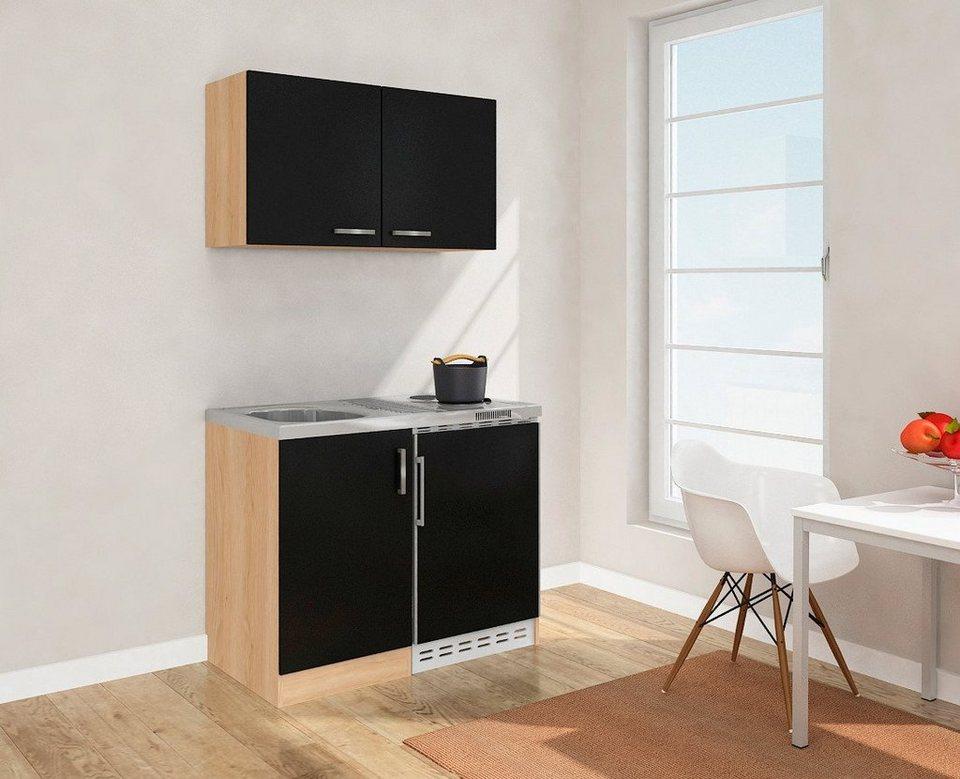 Miniküche mit Duo-Kochplattenfeld und Kühlschrank, Breite 100 cm ...