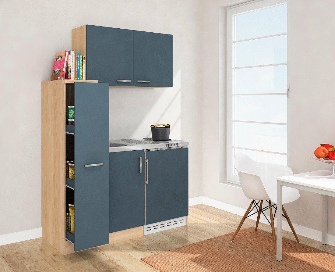 Miniküche mit Duo-Kochplattenmulde und Kühlschrank, Breite 130 cm | Küche und Esszimmer > Küchen > Miniküchen | Grau | OTTO