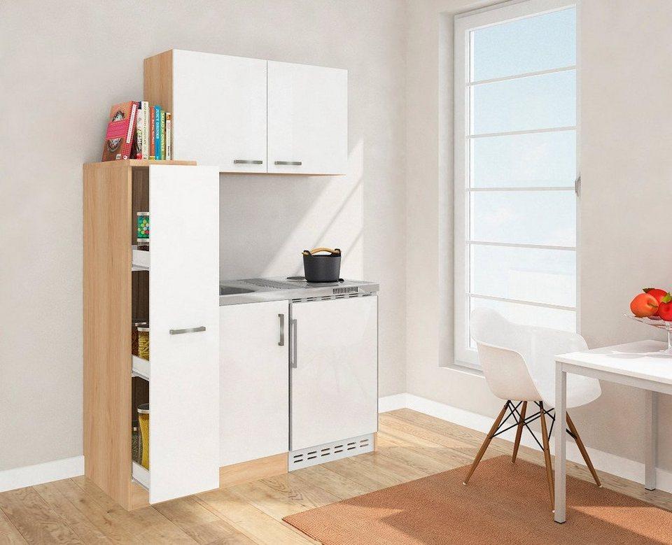 miniküche mit duo-kochplattenmulde und kühlschrank, breite 130 cm ... - Miniküche Mit Kühlschrank
