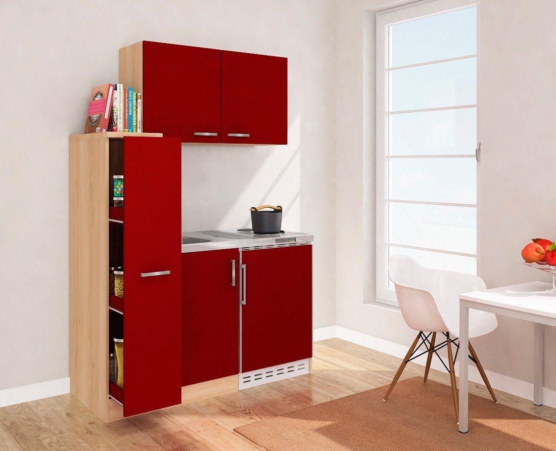 Miniküche mit Duo-Kochplattenmulde und Kühlschrank, Breite 130 cm | Küche und Esszimmer > Küchen > Miniküchen | Rot | OTTO