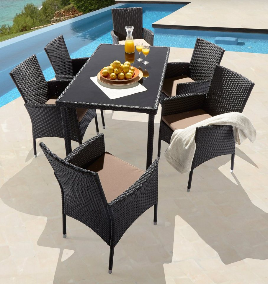 13 tlg gartenm belset caracas 6 sessel tisch 140x80 cm polyrattan schwarz online kaufen. Black Bedroom Furniture Sets. Home Design Ideas