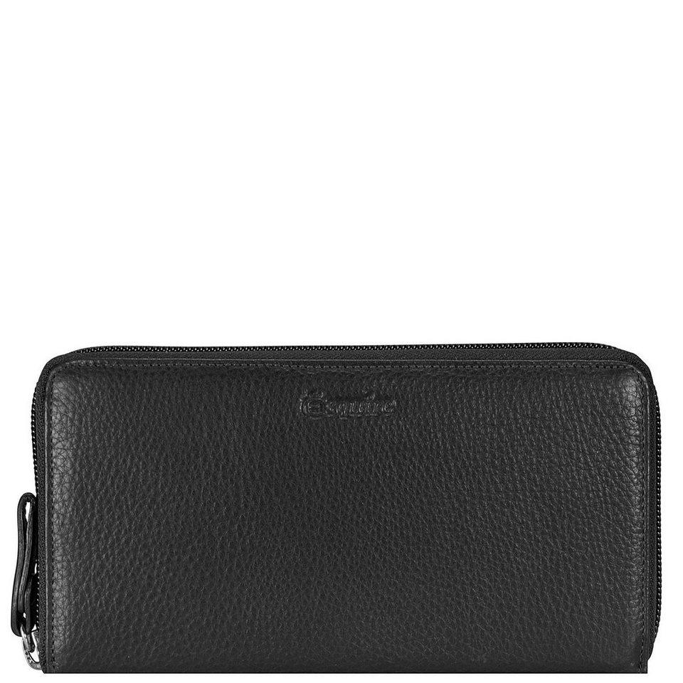 Esquire Primavera Geldbörse Leder 18 cm in schwarz