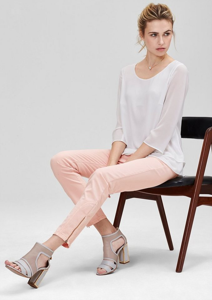 s.Oliver PREMIUM Slim: Jeans mit Bein-Zipper in ice peach