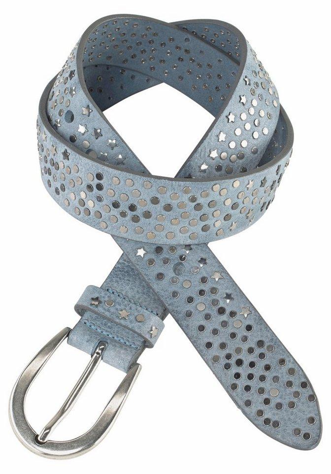 Silbergift Nietengürtel mit Schließe in Used-Optik in blau