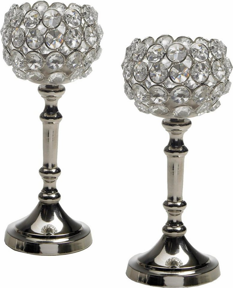 SPARSET Home affaire Teelichthalter »Kristall« (2er Set) in silberfarben