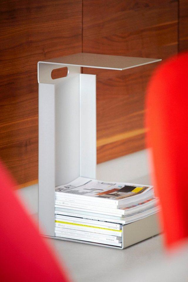 jankurtz Beistelltisch »hochstapler magazintisch«, inklusive Ablagefläche in Alu