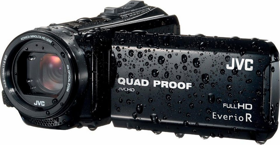 JVC GZ-R410BEU 1080p (Full HD) Camcorder, Videoleuchte, Staubfest in schwarz