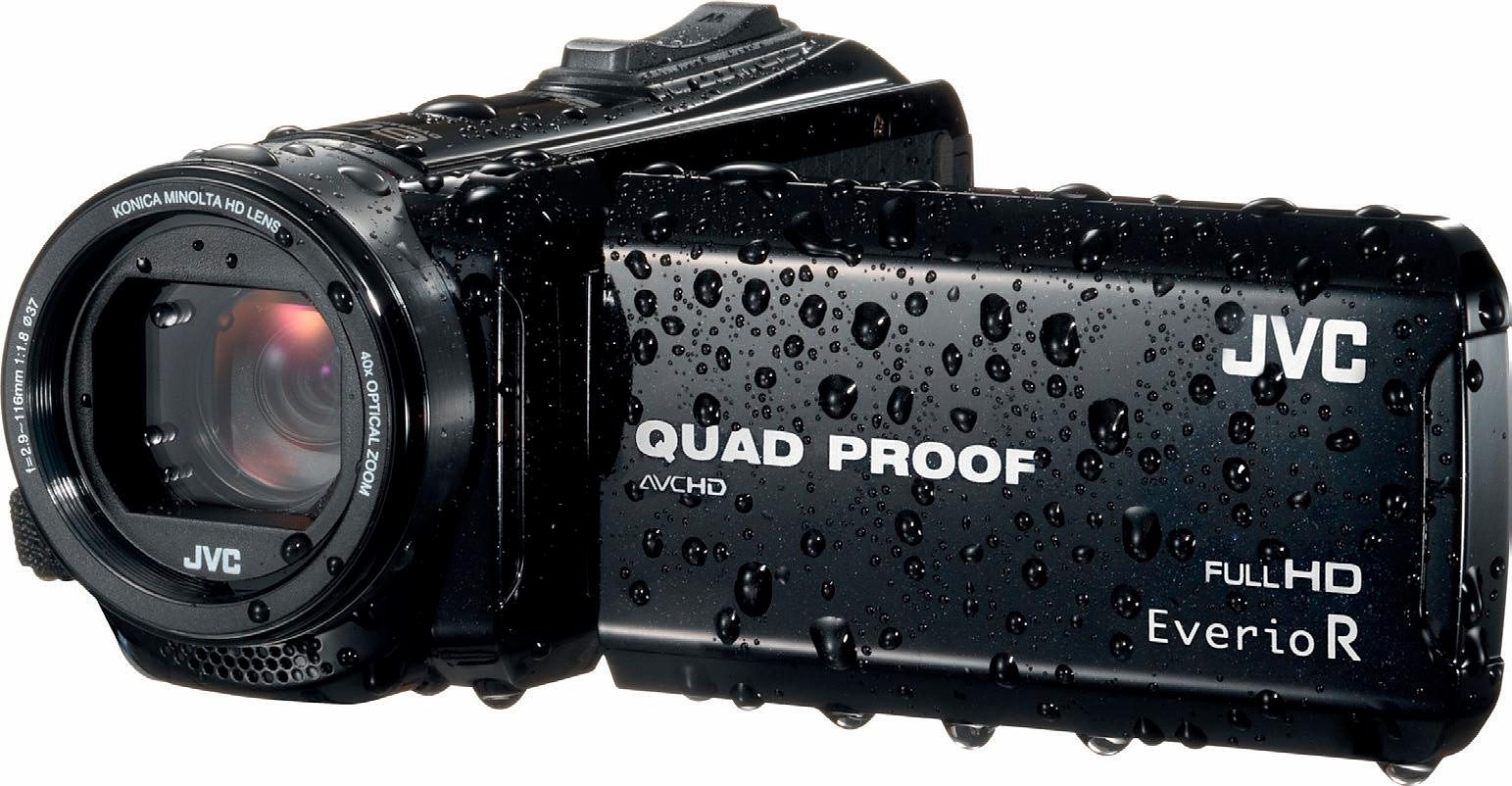 JVC GZ-R410BEU 1080p (Full HD) Camcorder, Videoleuchte, Staubfest