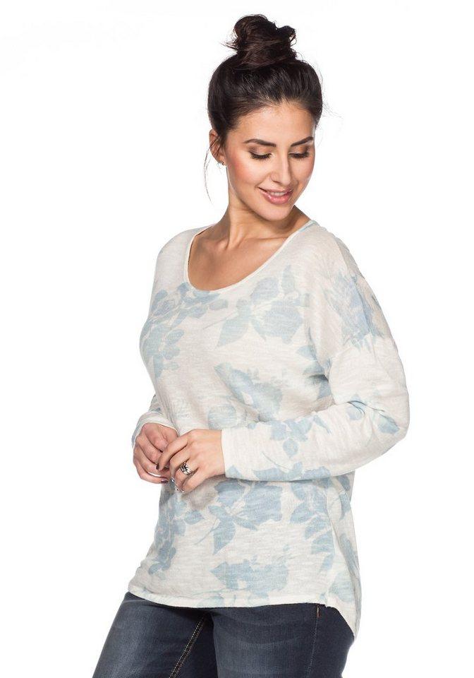 sheego Trend Pullover in weiß-pastellblau