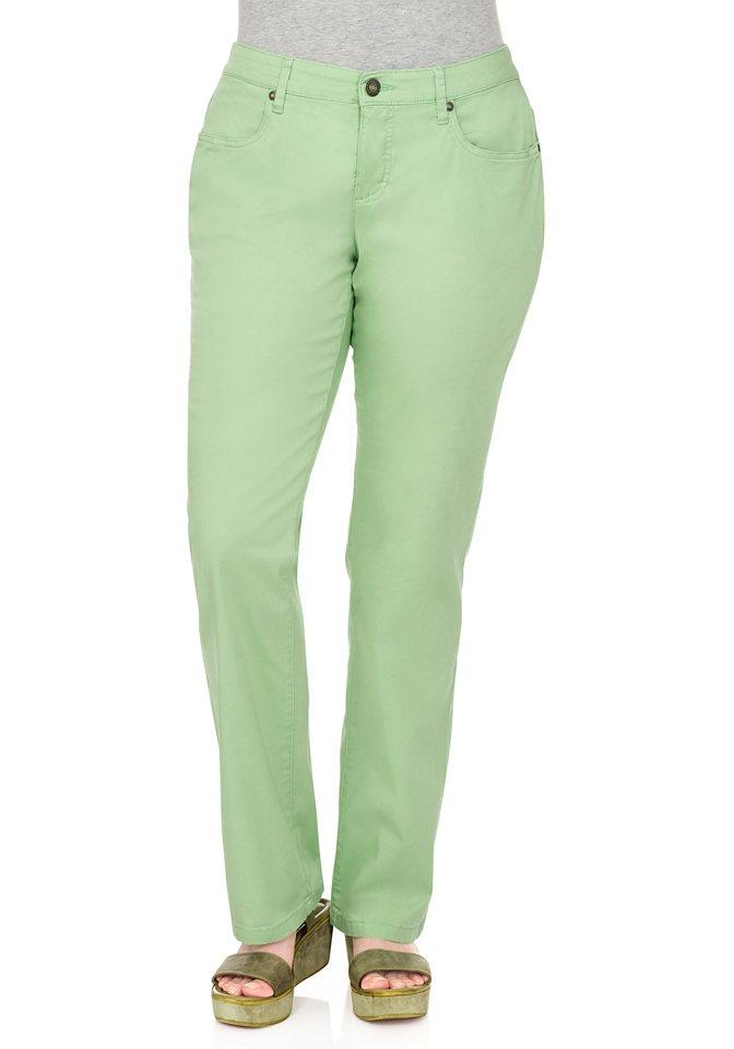 sheego Casual BASIC gerade Stretch-Hose in apfelgrün