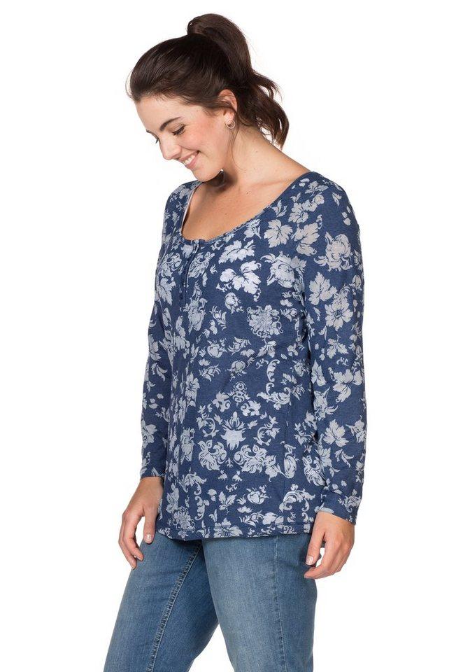 sheego Casual Langarmshirt in Ausbrenner-Qualität in nachtblau