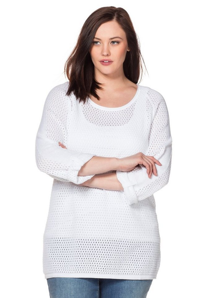 sheego Casual Pullover in weiß