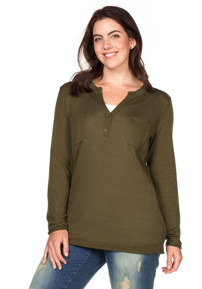 sheego Casual Pullover in dunkeloliv