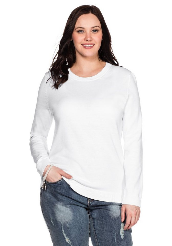 sheego Casual BASIC Pullover in weiß