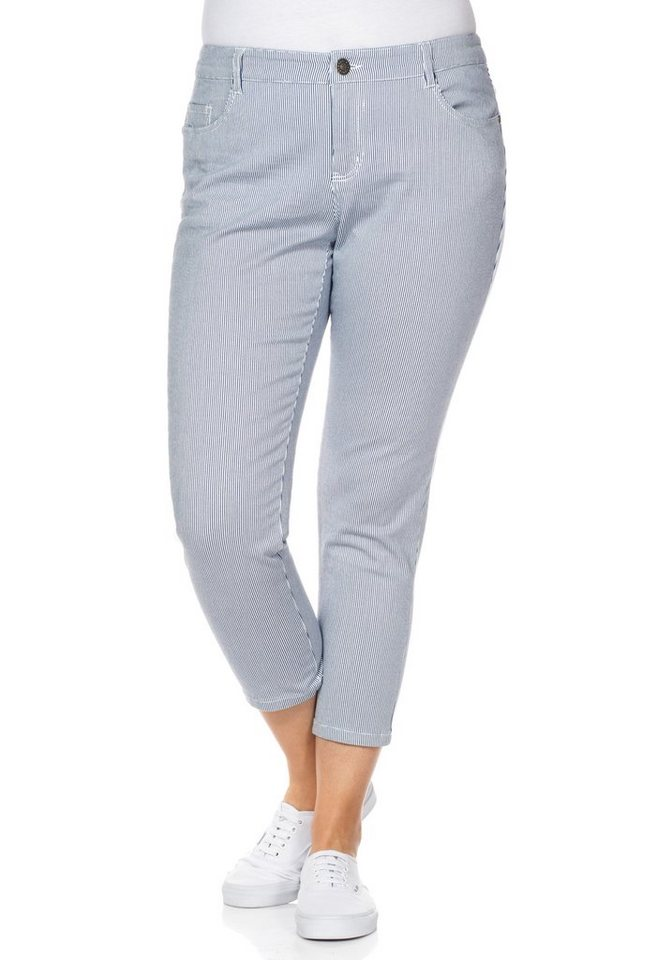 sheego Casual Stretch-Hose mit Streifendruck in nachtblau-weiß