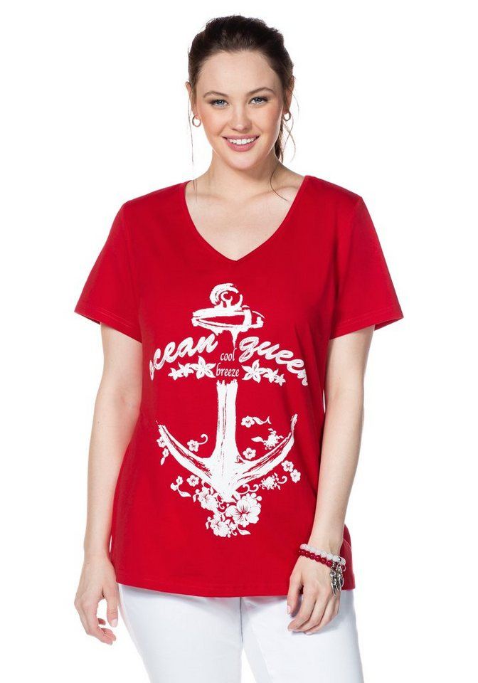 sheego Casual T-Shirt mit Frontdruck in tomatenrot