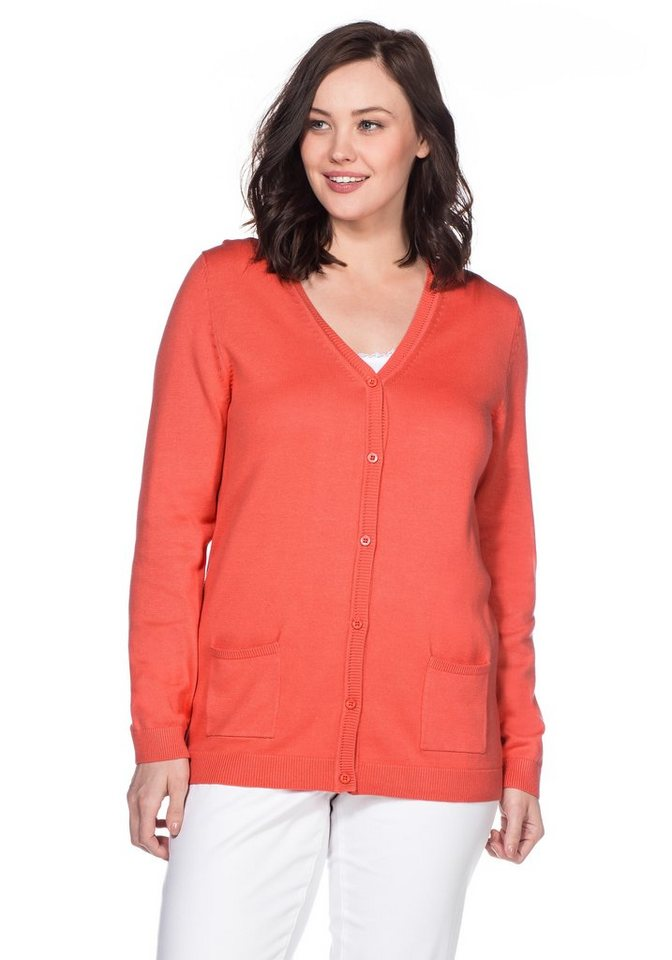 sheego Casual BASIC Strickjacke in korallrot