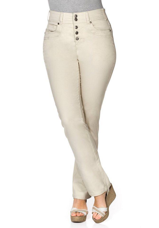 sheego Casual Gerade Stretch-Hose in elfenbein