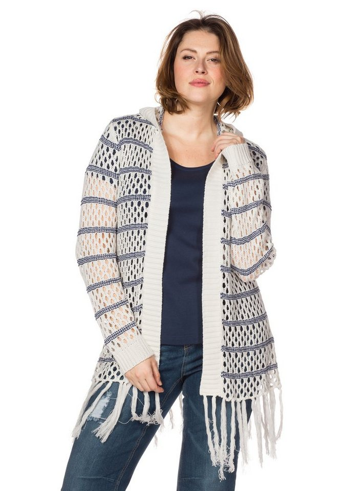 sheego Trend Cardigan in offwhite gestreift